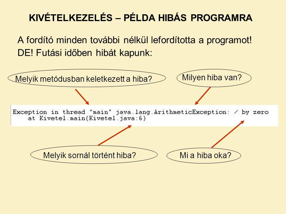 KIVÉTELKEZELÉS – PÉLDA HIBÁS PROGRAMRA