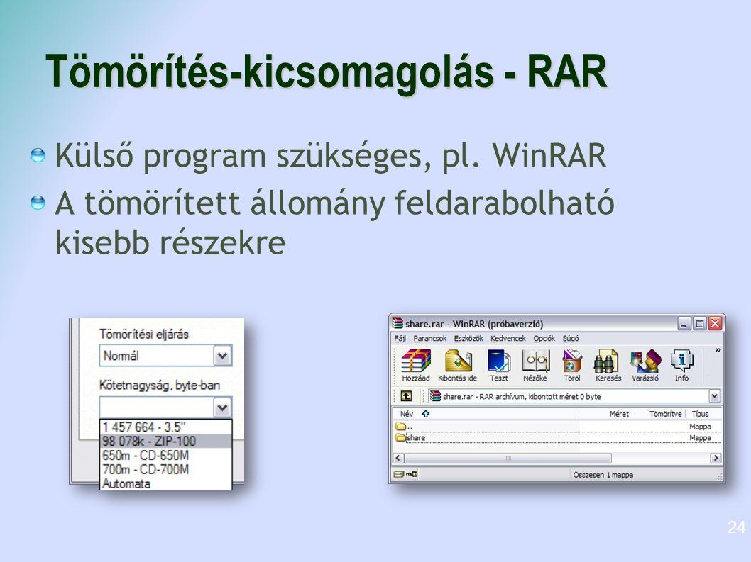 Tömörítés-kicsomagolás - RAR