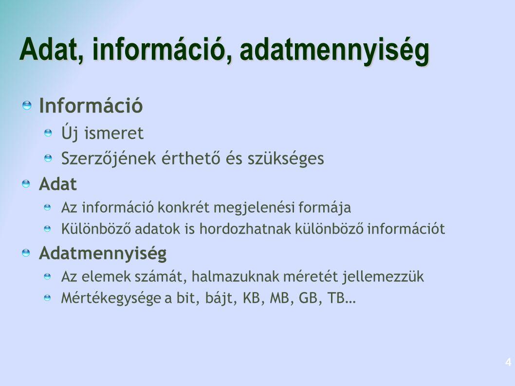 Adat, információ, adatmennyiség