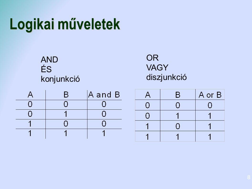Logikai műveletek OR VAGY diszjunkció AND ÉS konjunkció