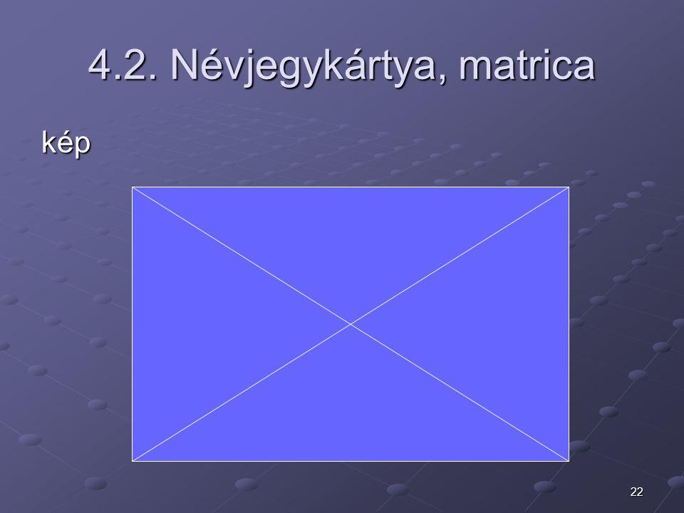 4.2. Névjegykártya, matrica