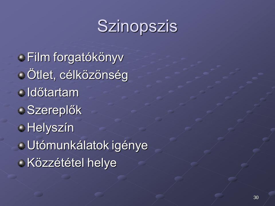 Szinopszis Film forgatókönyv Ötlet, célközönség Időtartam Szereplők