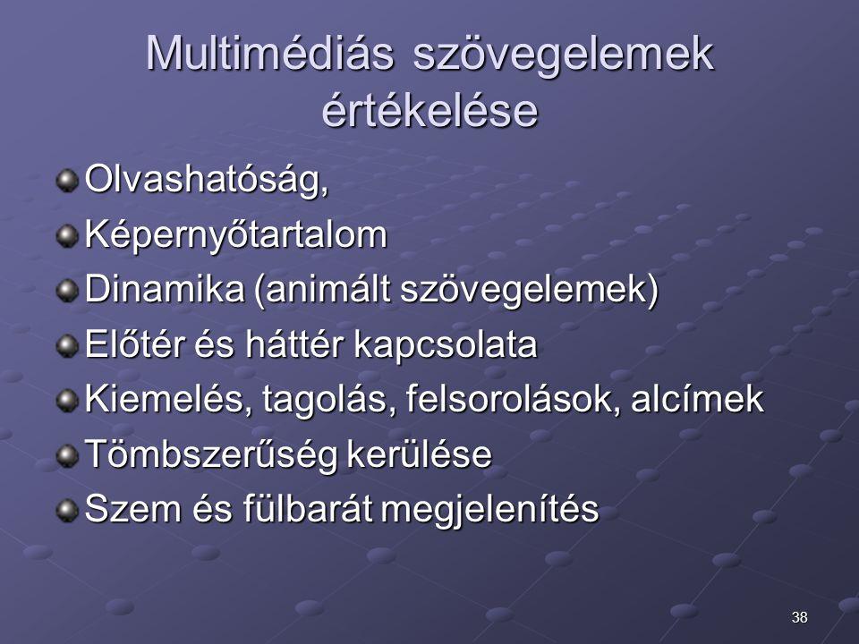 Multimédiás szövegelemek értékelése