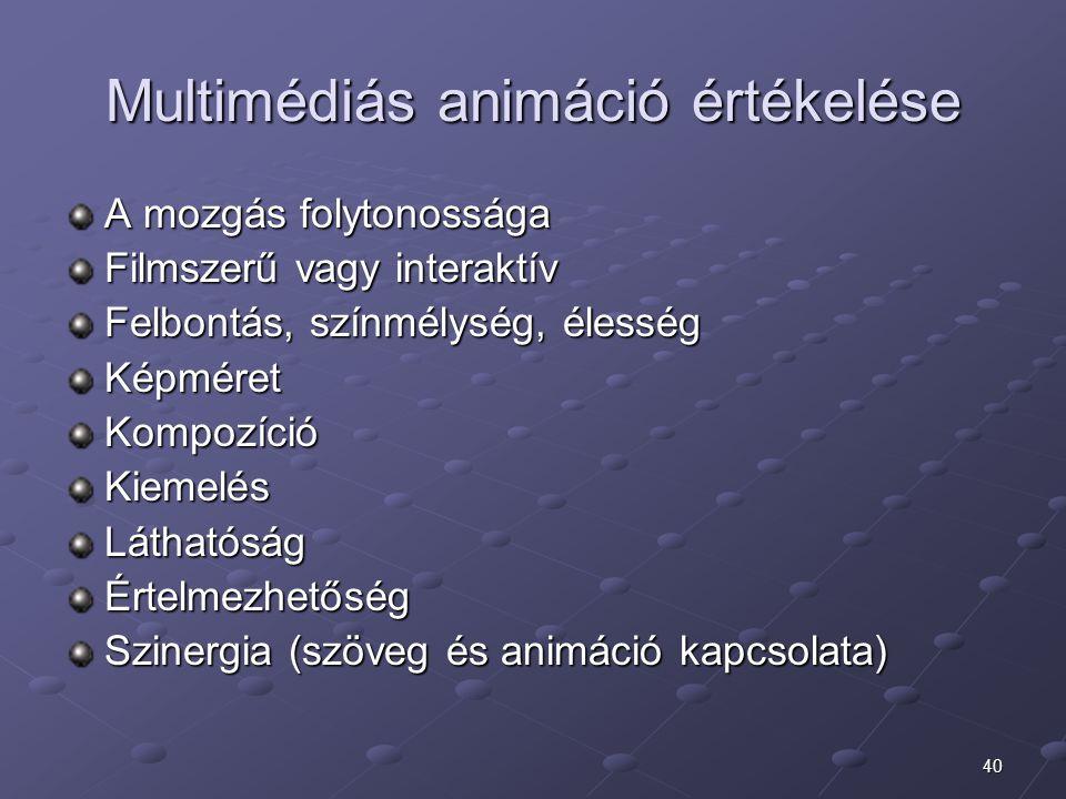 Multimédiás animáció értékelése