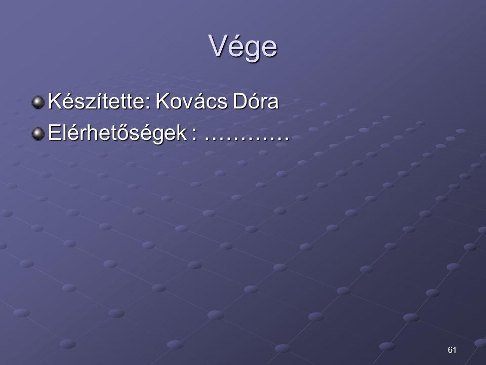 Vége Készítette: Kovács Dóra Elérhetőségek : …………