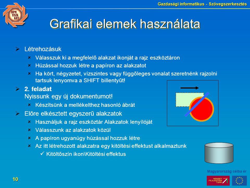 Grafikai elemek használata