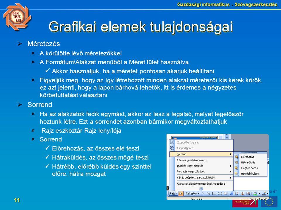 Grafikai elemek tulajdonságai