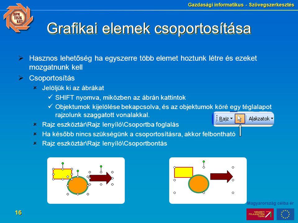 Grafikai elemek csoportosítása