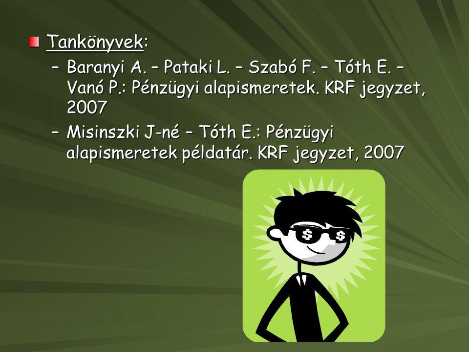 Tankönyvek: Baranyi A. – Pataki L. – Szabó F. – Tóth E. – Vanó P.: Pénzügyi alapismeretek. KRF jegyzet, 2007.