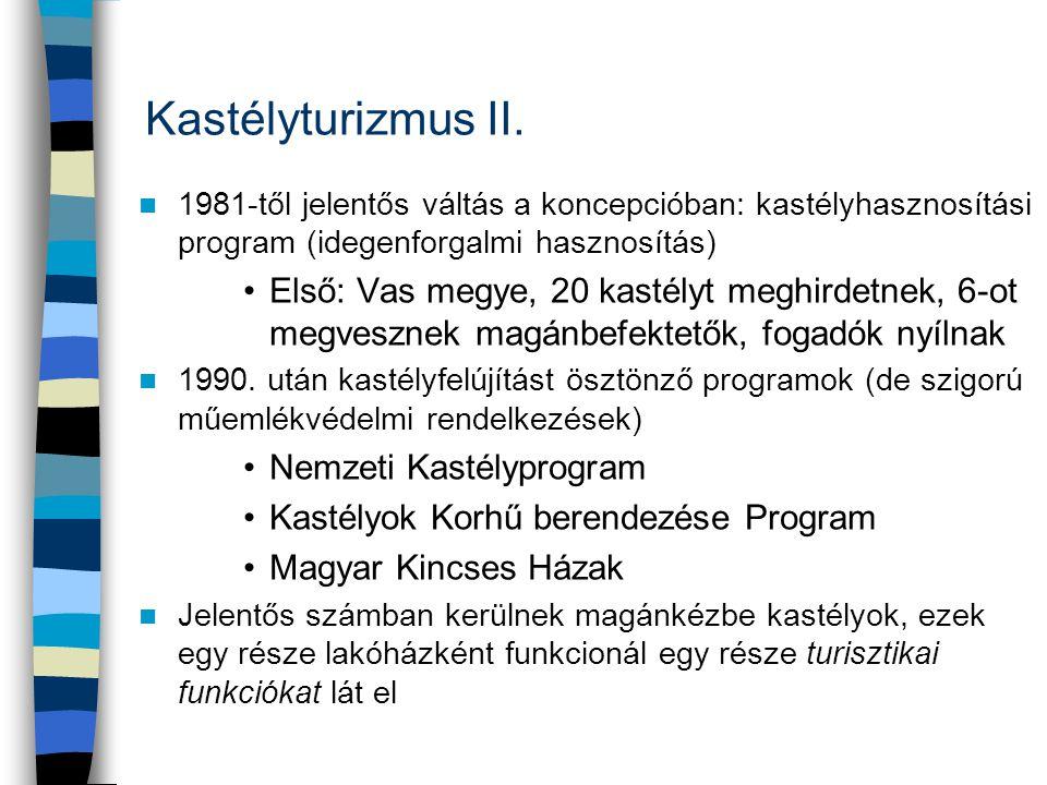 Kastélyturizmus II. 1981-től jelentős váltás a koncepcióban: kastélyhasznosítási program (idegenforgalmi hasznosítás)