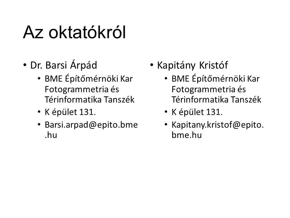 Az oktatókról Dr. Barsi Árpád Kapitány Kristóf