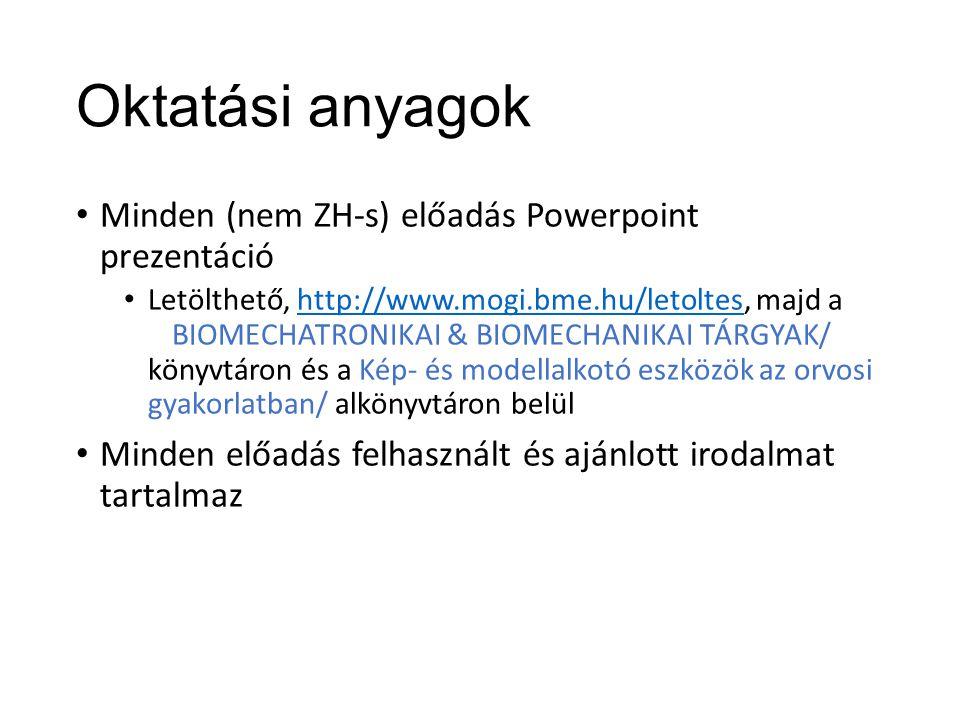Oktatási anyagok Minden (nem ZH-s) előadás Powerpoint prezentáció