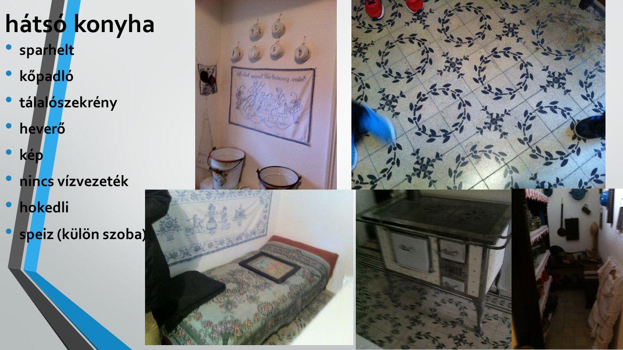 hátsó konyha sparhelt kőpadló tálalószekrény heverő kép