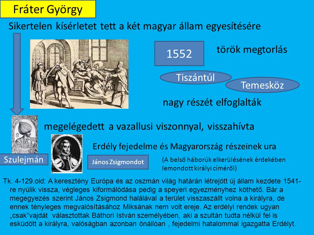 Fráter György Sikertelen kísérletet tett a két magyar állam egyesítésére. 1552. török megtorlás. Tiszántúl.