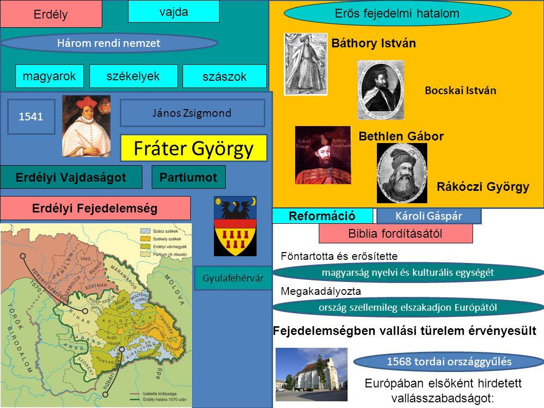 Fráter György Erdély vajda Erős fejedelmi hatalom Három rendi nemzet