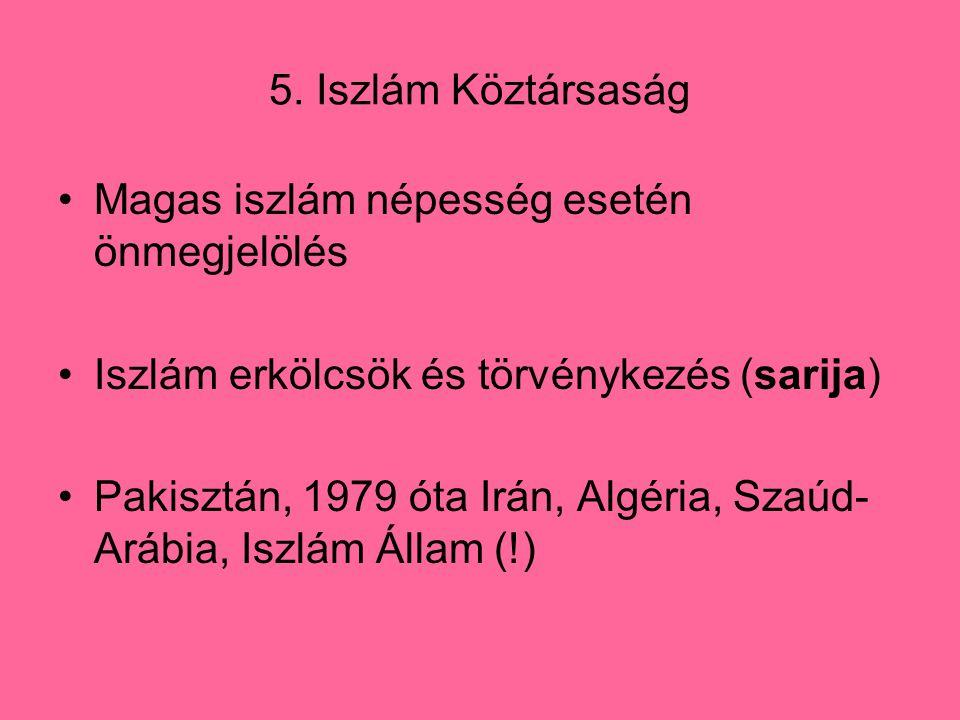 5. Iszlám Köztársaság Magas iszlám népesség esetén önmegjelölés. Iszlám erkölcsök és törvénykezés (sarija)