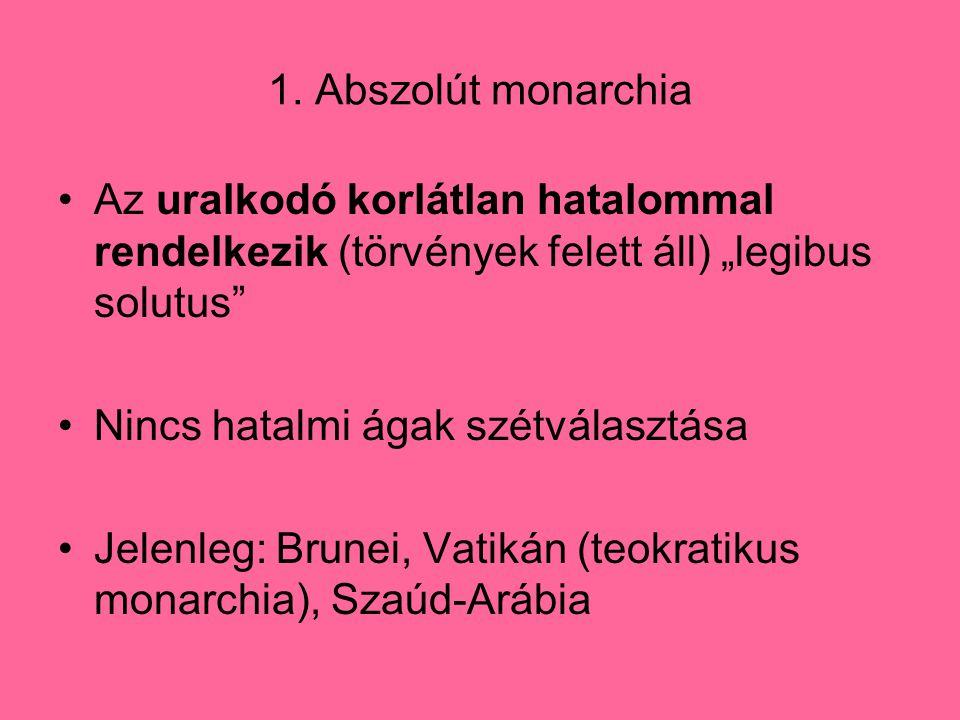 """1. Abszolút monarchia Az uralkodó korlátlan hatalommal rendelkezik (törvények felett áll) """"legibus solutus"""