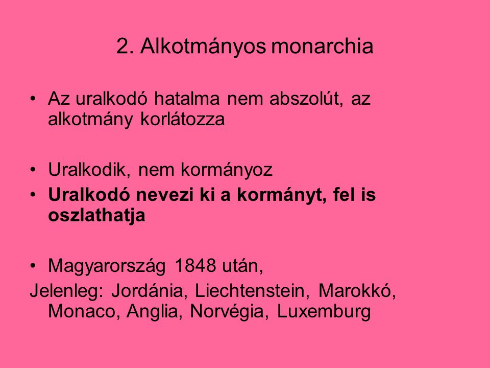 2. Alkotmányos monarchia