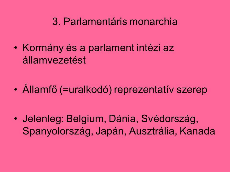 3. Parlamentáris monarchia