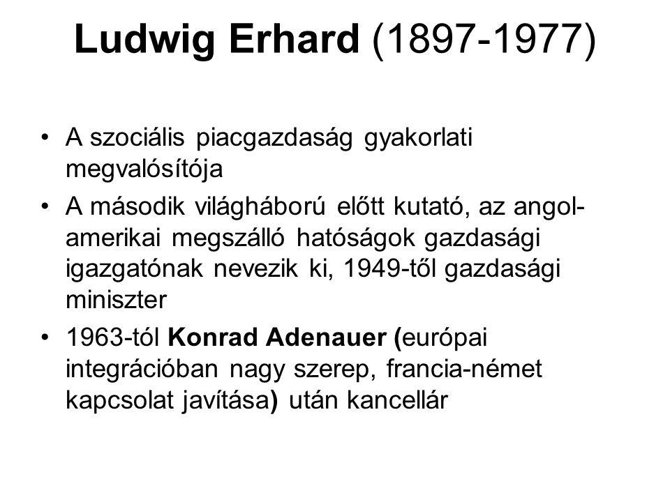 Ludwig Erhard (1897-1977) A szociális piacgazdaság gyakorlati megvalósítója.