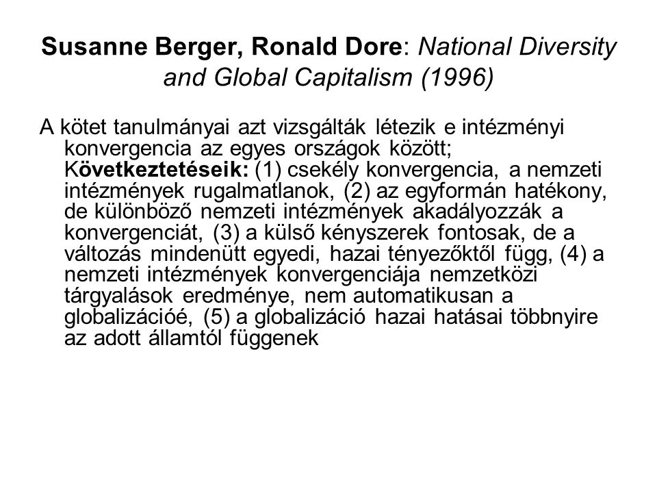 Susanne Berger, Ronald Dore: National Diversity and Global Capitalism (1996)