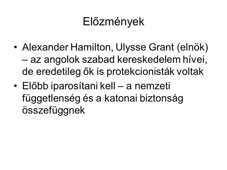 Előzmények Alexander Hamilton, Ulysse Grant (elnök) – az angolok szabad kereskedelem hívei, de eredetileg ők is protekcionisták voltak.