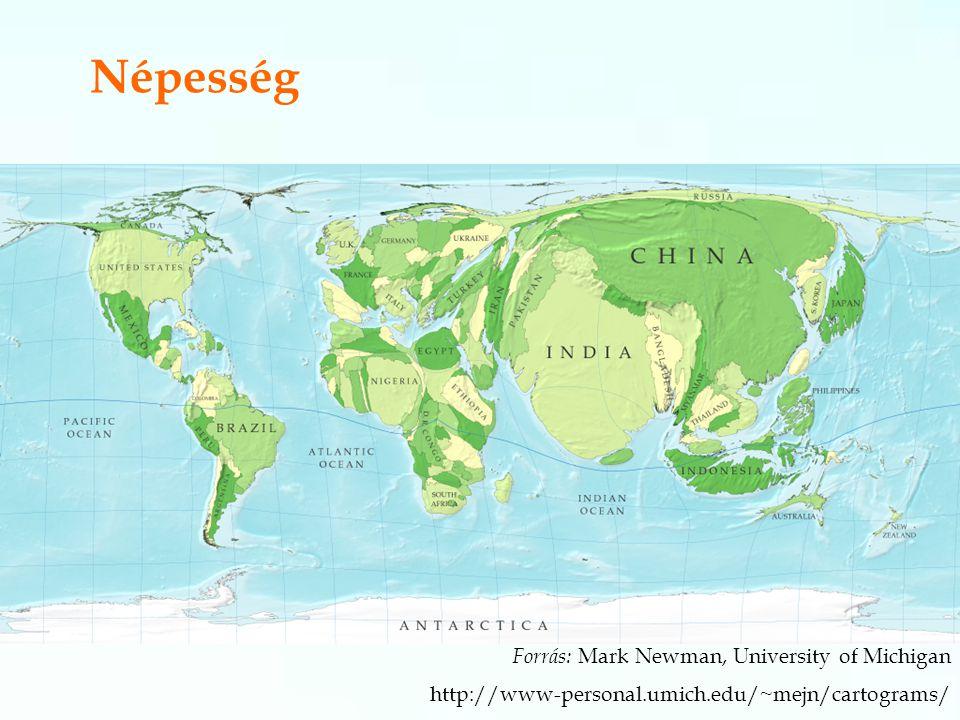 Népesség Forrás: Mark Newman, University of Michigan