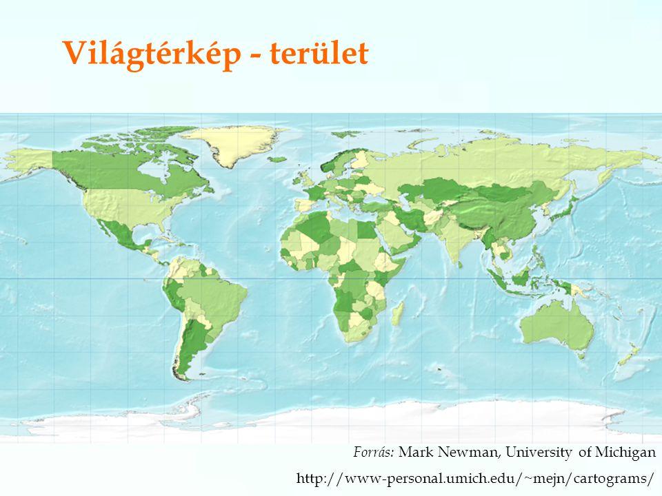 Világtérkép - terület Forrás: Mark Newman, University of Michigan