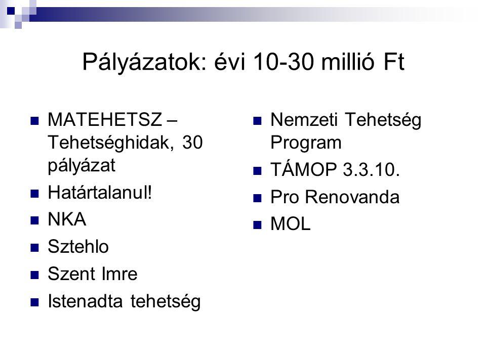 Pályázatok: évi 10-30 millió Ft
