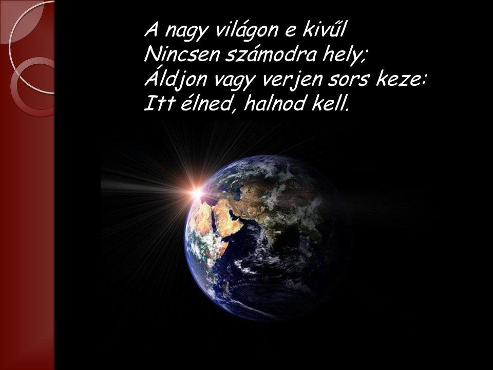 A nagy világon e kivűl Nincsen számodra hely; Áldjon vagy verjen sors keze: Itt élned, halnod kell.