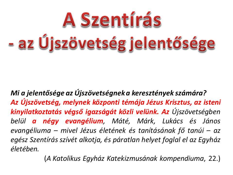 - az Újszövetség jelentősége