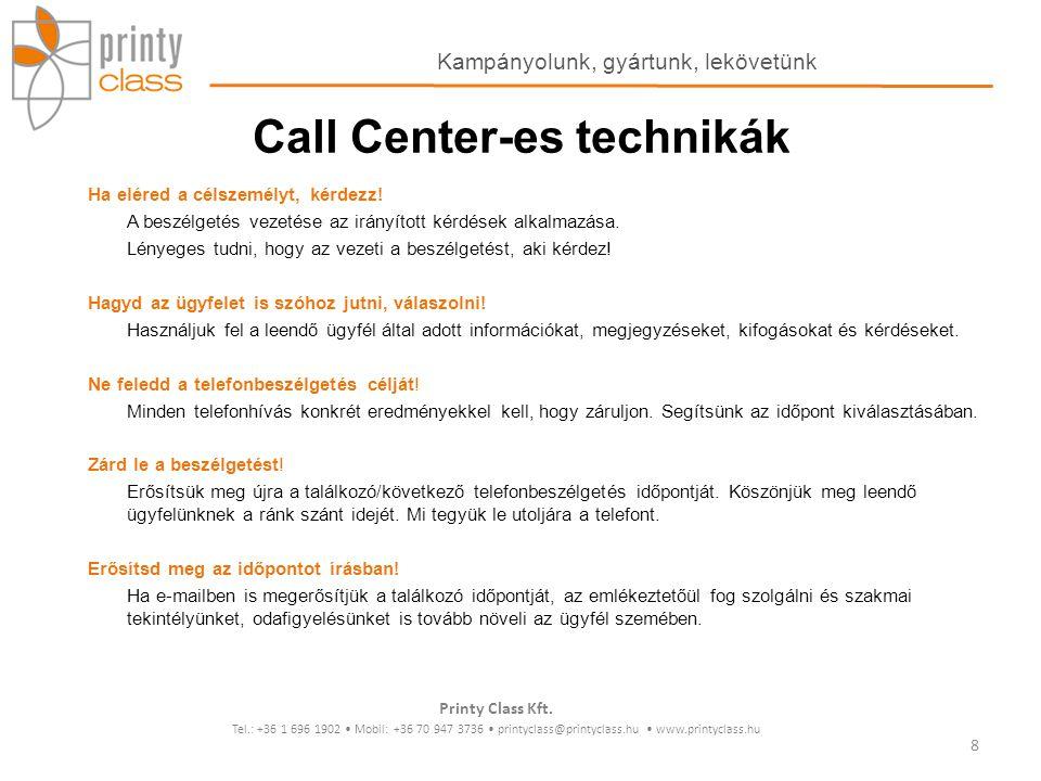 Call Center-es technikák