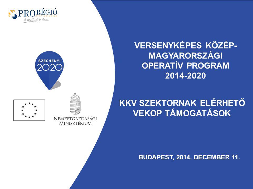 KKV szektornak Elérhető VEKOP támogatások