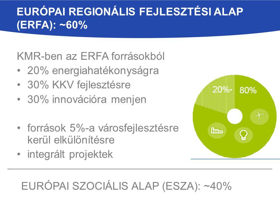 Európai Regionális Fejlesztési Alap (ERFA): ~60%