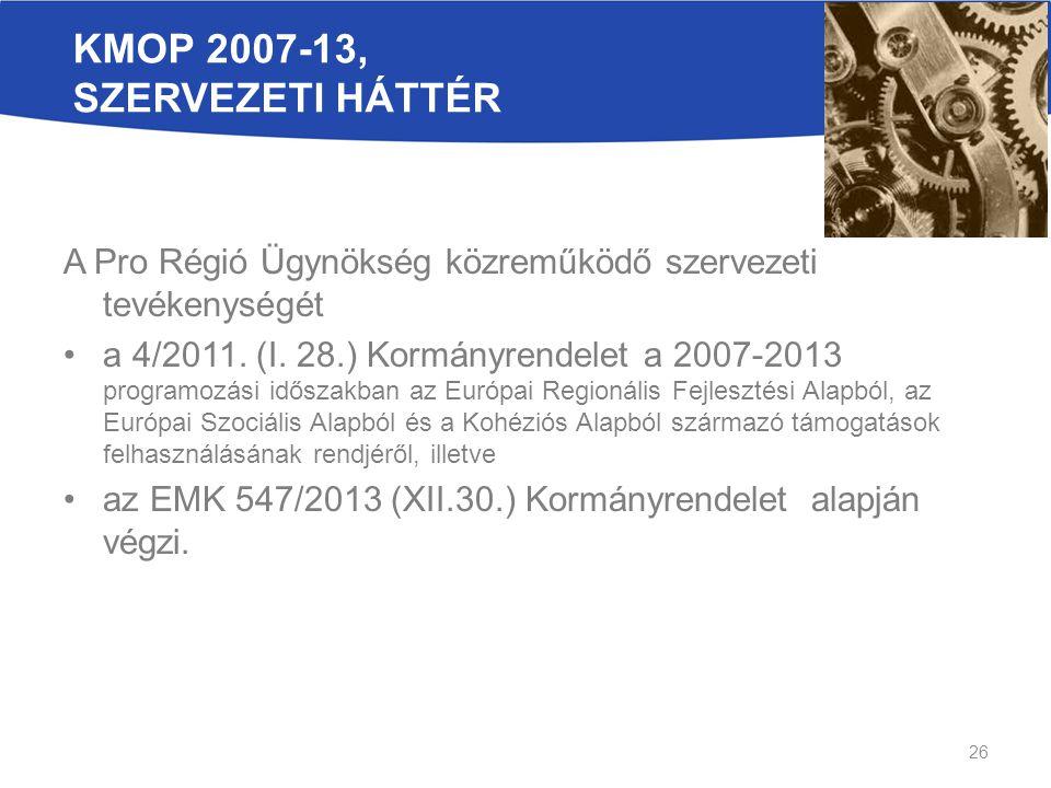 KMOP 2007-13, szervezeti háttér