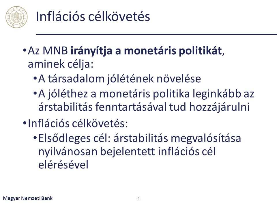 Inflációs célkövetés Az MNB irányítja a monetáris politikát, aminek célja: A társadalom jólétének növelése.