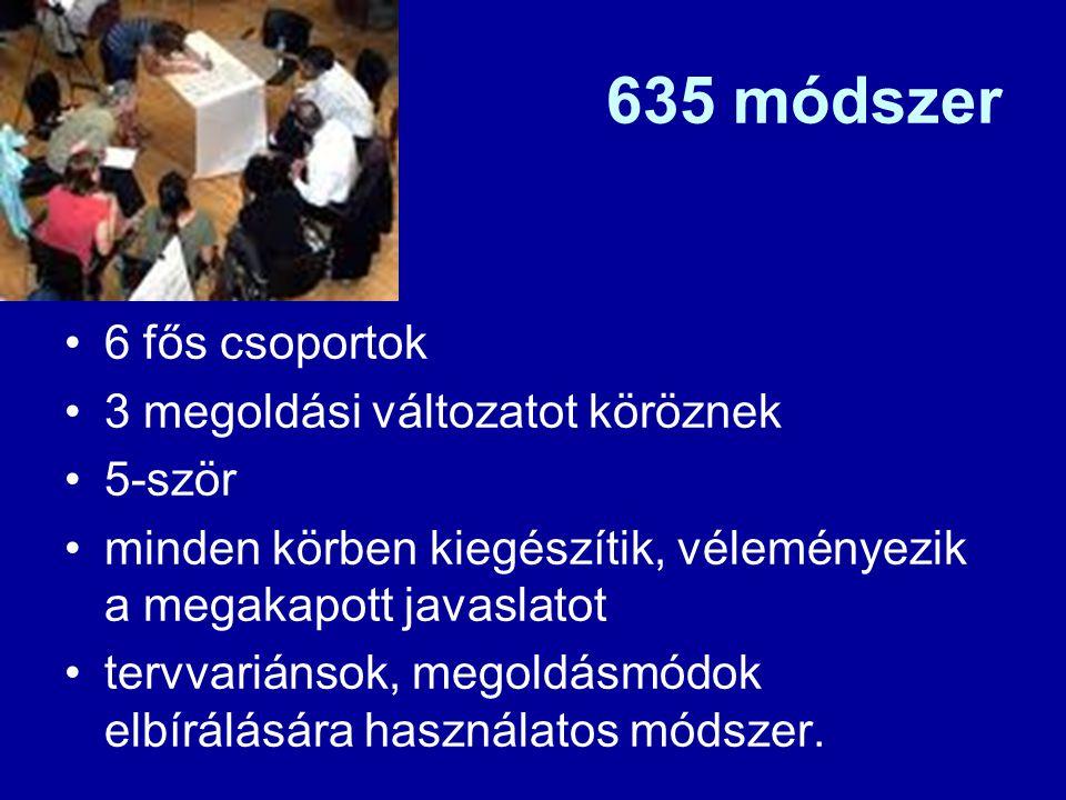 635 módszer 6 fős csoportok 3 megoldási változatot köröznek 5-ször