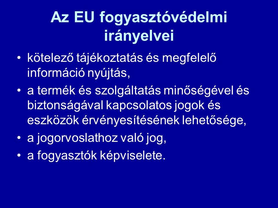 Az EU fogyasztóvédelmi irányelvei