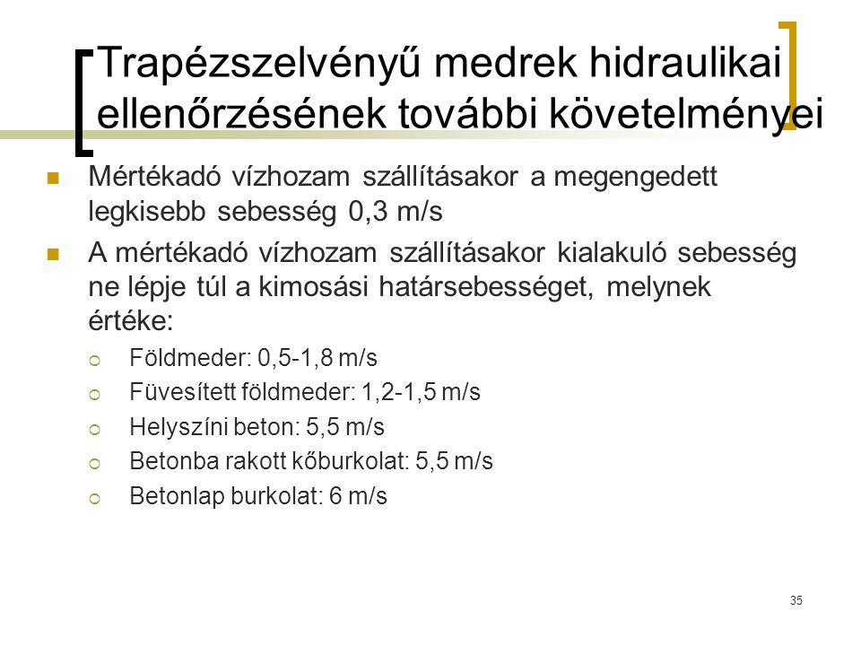 Trapézszelvényű medrek hidraulikai ellenőrzésének további követelményei