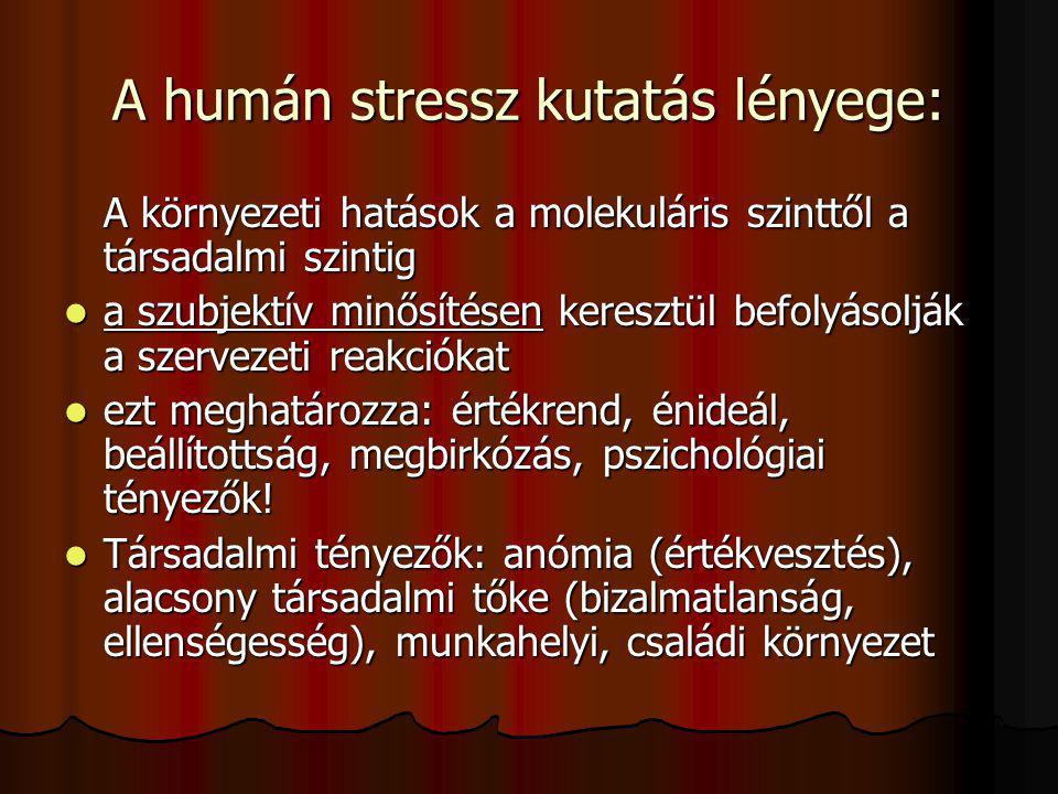 A humán stressz kutatás lényege: