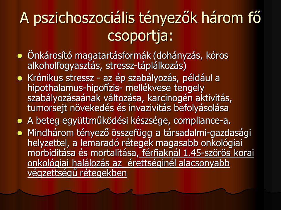 A pszichoszociális tényezők három fő csoportja: