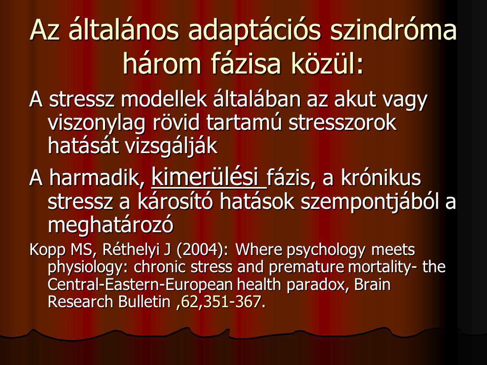 Az általános adaptációs szindróma három fázisa közül: