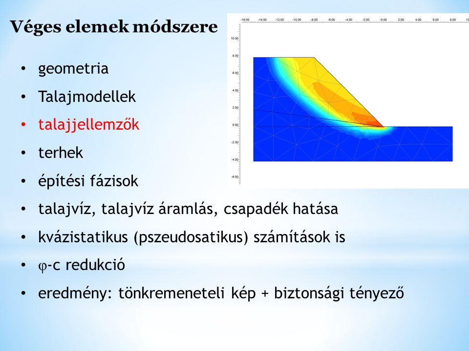 Véges elemek módszere geometria Talajmodellek talajjellemzők terhek