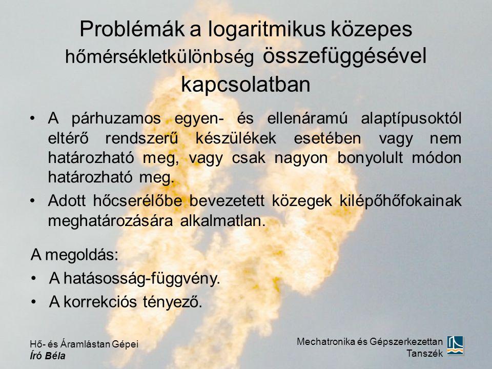 Problémák a logaritmikus közepes hőmérsékletkülönbség összefüggésével kapcsolatban