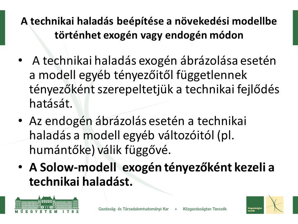 A Solow-modell exogén tényezőként kezeli a technikai haladást.