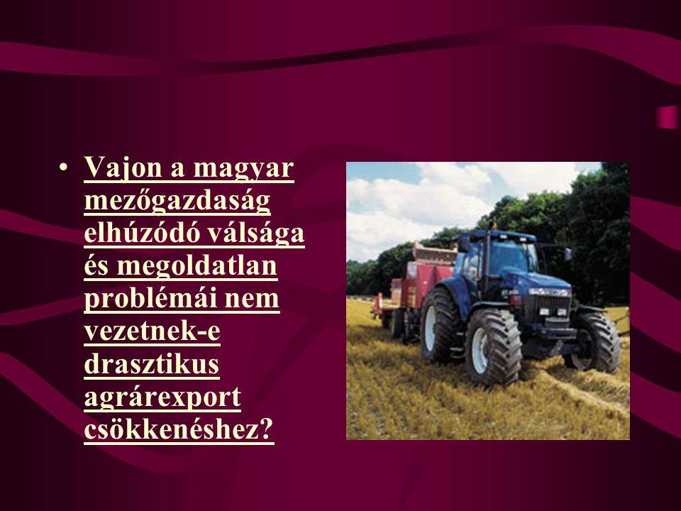 Vajon a magyar mezőgazdaság elhúzódó válsága és megoldatlan problémái nem vezetnek-e drasztikus agrárexport csökkenéshez