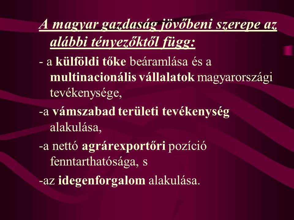 A magyar gazdaság jövőbeni szerepe az alábbi tényezőktől függ: