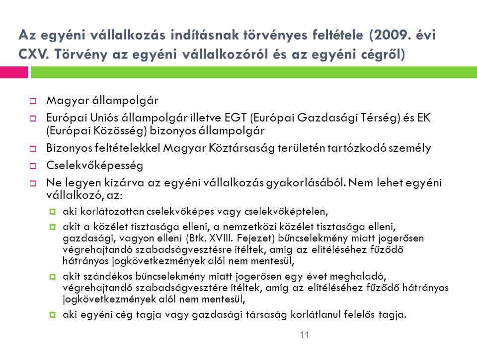 Az egyéni vállalkozás indításnak törvényes feltétele (2009. évi CXV