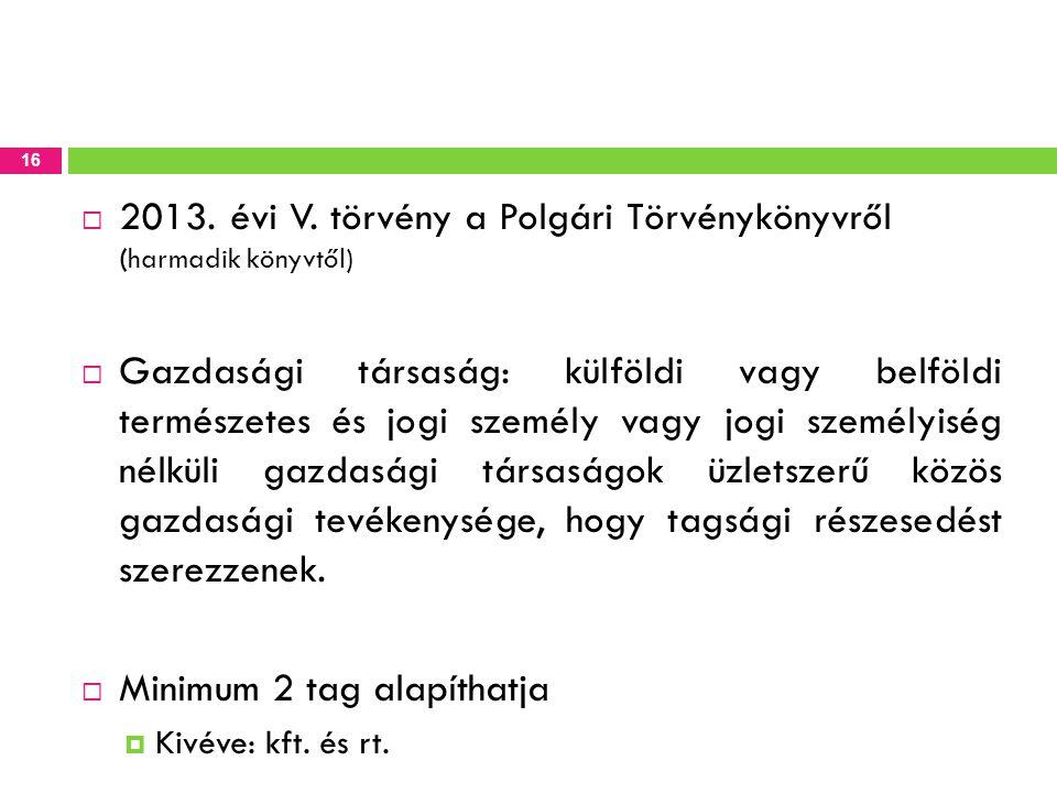 2013. évi V. törvény a Polgári Törvénykönyvről (harmadik könyvtől)