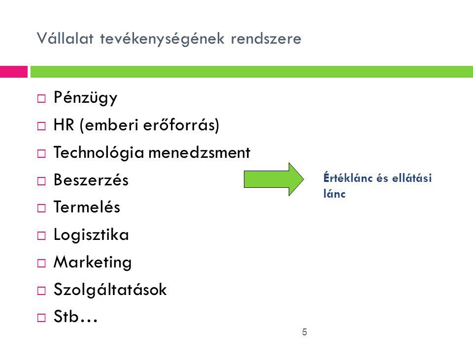 Vállalat tevékenységének rendszere